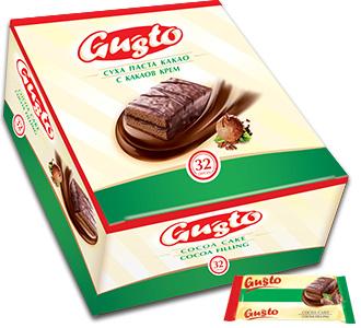 0100. GUSTO суха паста какао с какаов крем – бокс – 32бр. х 32 гр.