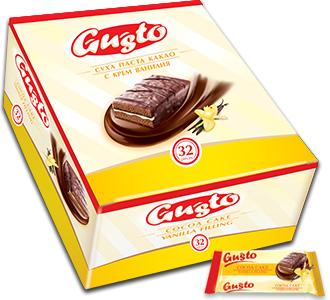 0103.GUSTO суха паста какао с крем ванилия- бокс – 32бр. X 32 гр.