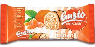 0070. Плодово руло Gusto с крем ванилия и конфитюр портокал – 150 гр.