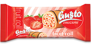 0067. Fruit roll GUSTO with vanilla cream and strawberry jam – 150 gr.