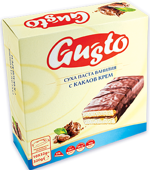 0111. GUSTO суха паста ванилия с какаов крем 10бр. Х 32гр.
