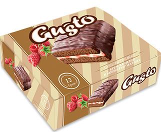 0134. GUSTO суха какао с крем ванилия и конфитюр малина 12 бр. X 35 гр.
