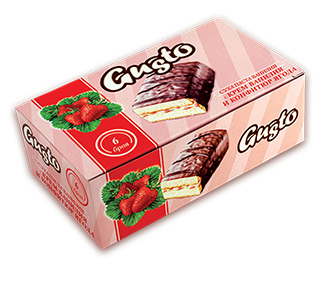 0120. GUSTO  суха паста ванилия с крем ванилия и конфитюр ягода 6 бр. X  35гр.