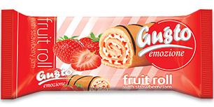 0067. Плодово руло Gusto с крем ванилия и конфитюр ягода – 150 гр.