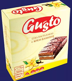 0113. GUSTO суха паста какао с крем ванилия 10бр. Х 32гр.